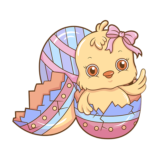 Lovely Chick in the Easter Egg - Easter PNG Transparent Image - Instant Download