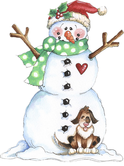 Friendly Snowman with Dog Free PNG Images - Free Digital Image Download