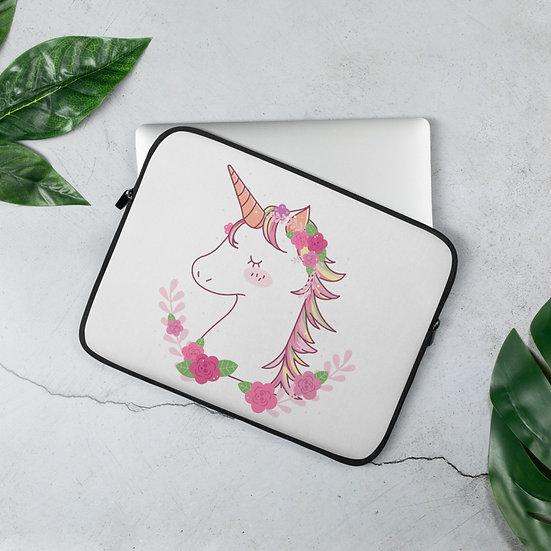 Flowered Unicorn Laptop Sleeve for MacBook, HP, ACER, ASUS, Dell, Lenovo