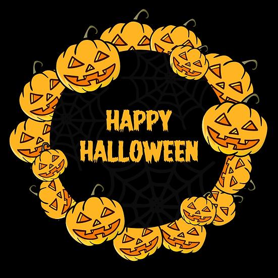 Happy Halloween Pumpkin Wreath Printables PNG Image  - Editable / Downloadable
