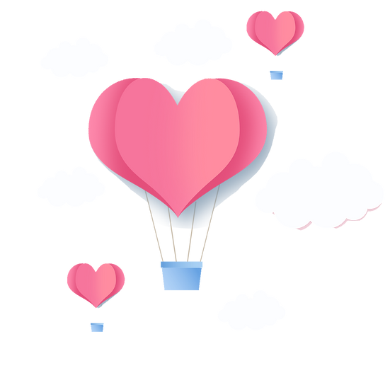 Heart-Shaped Air Balloon - Valentine's Day Transparent Image - Instant Download