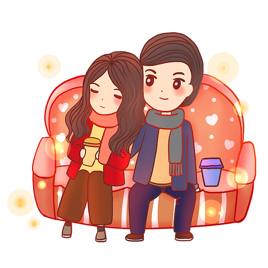 Couple Sitting on the Sofa - Valentine's Day Transparent Image, Instant Download