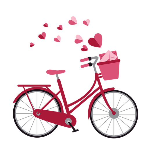 Bicycle with Love Letters - Valentine's Day Transparent Image - Instant Download