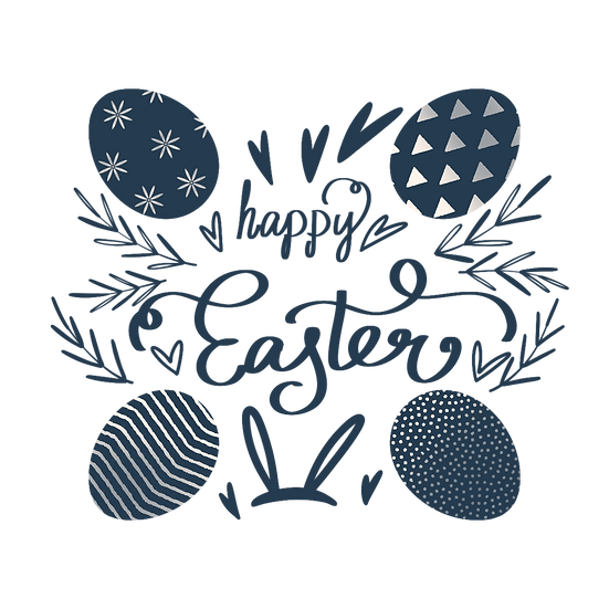 Happy Easter Magical Blue Clipart - PNG Transparent Image - Instant Download