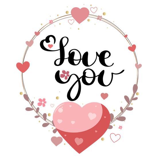 Love You - Valentine's Day PNG Transparent Image - Instant Download