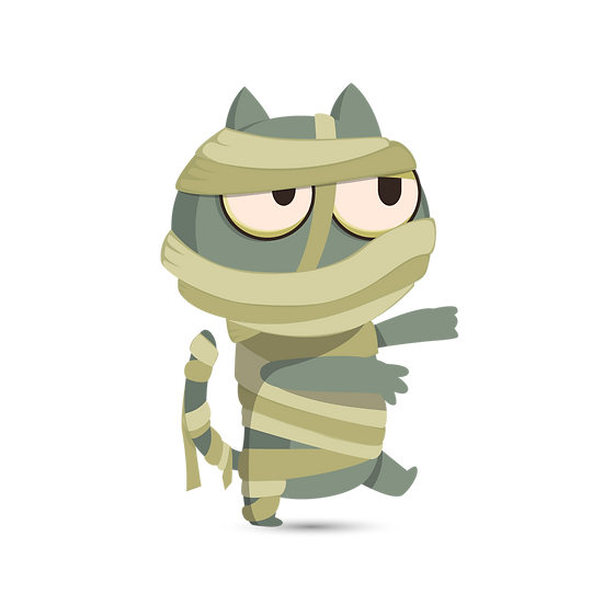 Halloween Mummy Cat Printables PNG Image  - Editable / Downloadable