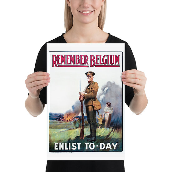 "WW1 British Propaganda Poster ""REMEMBER BELGIUM ENLIST TO-DAY"". Great War Print"