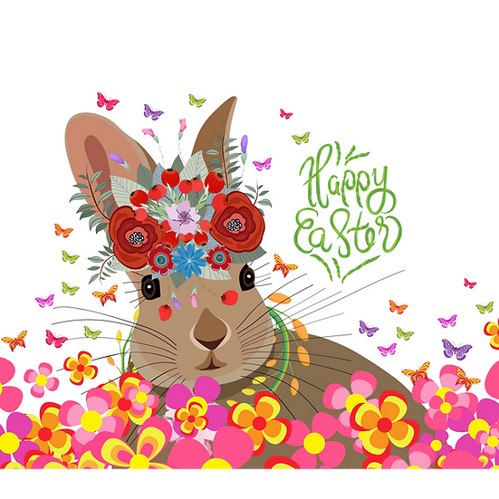 Floral Bunny Easter Greeting Card - Easter PNG Image - Instant Download