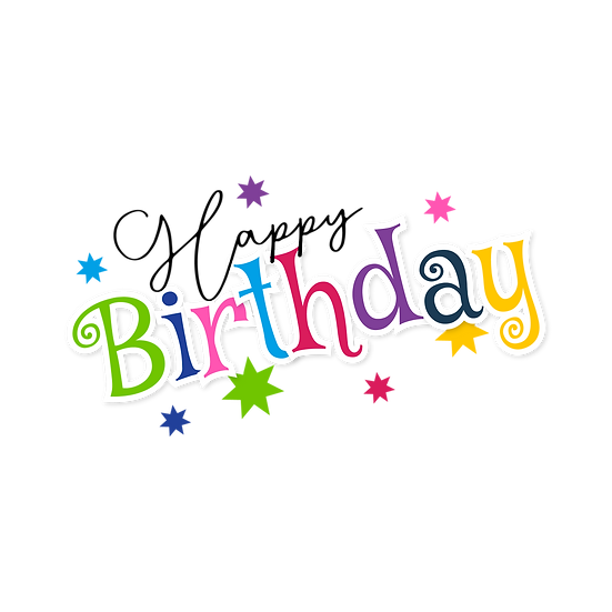Happy Birthday Colorful Inscription with Stars - PNG Image - Digital Download