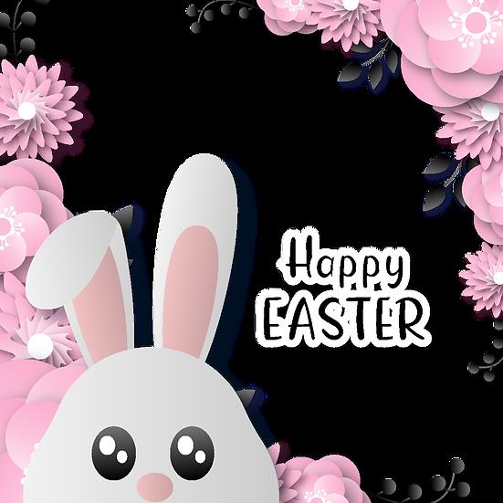 Happy Easter Floral Greeting Card - PNG Transparent Image - Instant Download