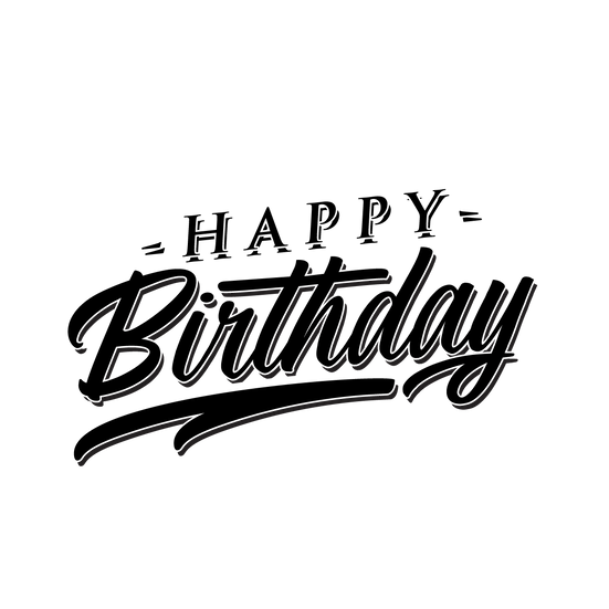 Happy Birthday Awesome Black Inscription - Transparent Image - Digital Download
