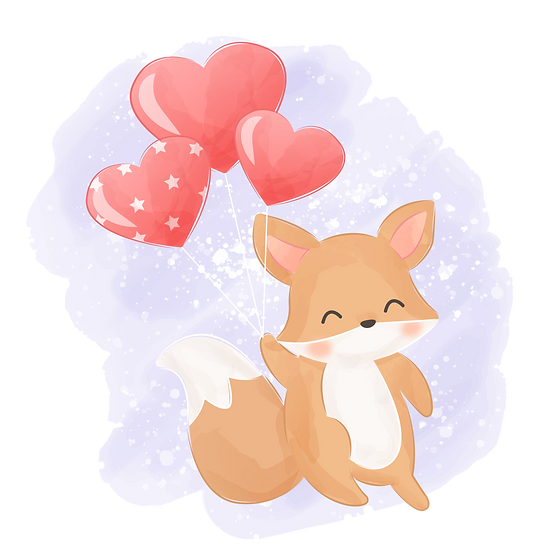 Little Fox with Heart Balloons - Free PNG Transparent Image, Digital Download