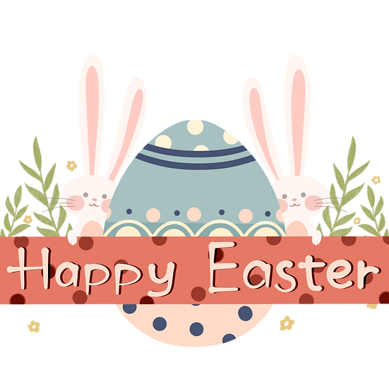 Happy Easter Adorable Greeting Card - PNG Transparent Image - Instant Download