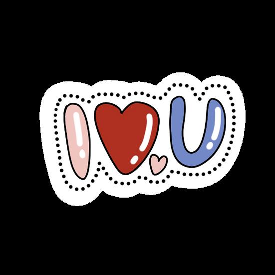 I Love U Clipart - Valentine's Day PNG Transparent Image - Instant Download