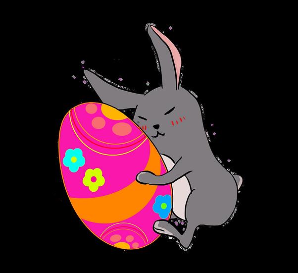Cute Bunny Hugging Easter Egg - PNG Transparent Image - Instant Download