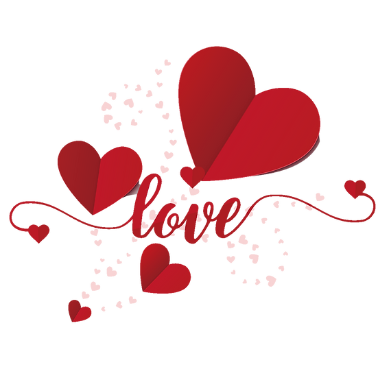 Love Inscription with Hearts - Valentine's Day PNG Image - Instant Download