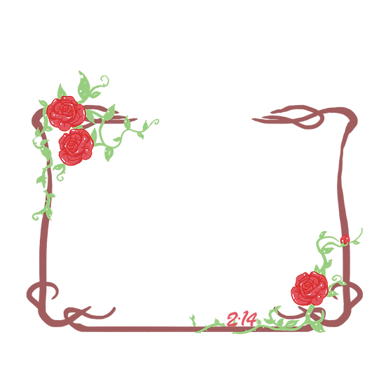Frame with Roses - Valentine's Day PNG Transparent Image - Instant Download
