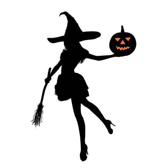 Halloween Silhouette Witch Printables PNG Image  - Editable / Downloadable