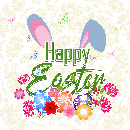 Happy Easter Colorful Greeting Card - PNG Transparent Image - Instant Download