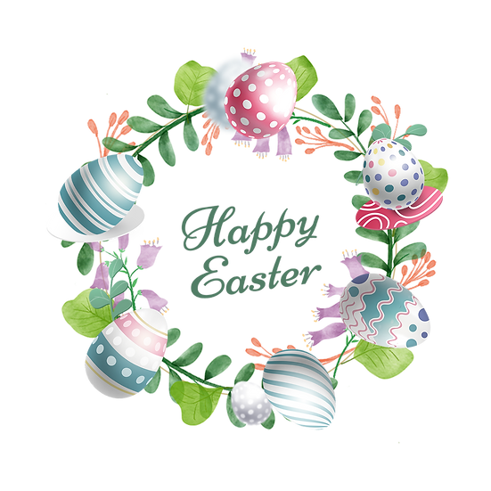 Happy Easter Beautiful Wreath - PNG Transparent Image - Instant Download