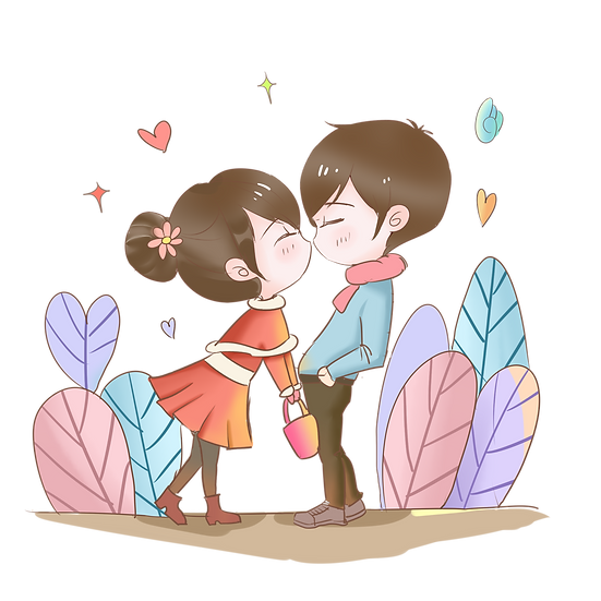 Cute Couple Kissing - Valentine's Day PNG Transparent Image - Instant Download