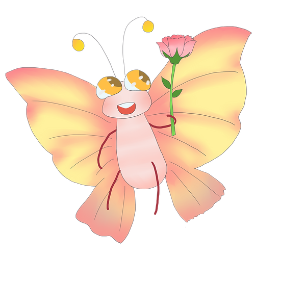 Cute Butterfly with Flower - Free PNG Images, Transparent Image Digital Download