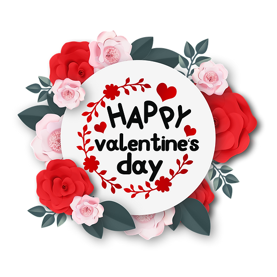 Happy Valentine's Day Wreath with Roses PNG Transparent Image - Instant Download