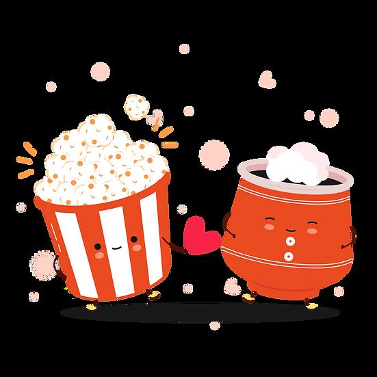 Popcorn and Hot Drink - Valentine's Day PNG Transparent Image - Instant Download
