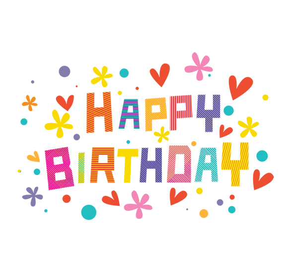 Happy Birthday Adorable Clipart - PNG Transparent Image - Digital Download