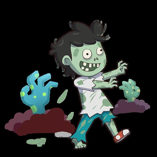 Halloween Little Zombie Boy Printables PNG Image  - Editable, Downloadable