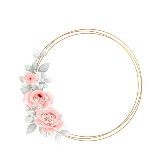 Flowers with Gold Circle - Free PNG Images, Transparent Image Digital Download