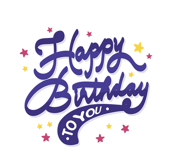 Birthday Inscription with Stars - PNG Transparent Image - Digital Download