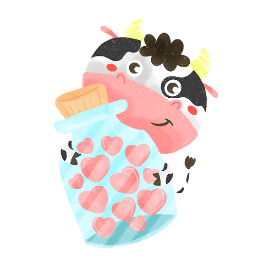 Cow with Jar of Hearts - Free PNG Images, Transparent Image Digital Download