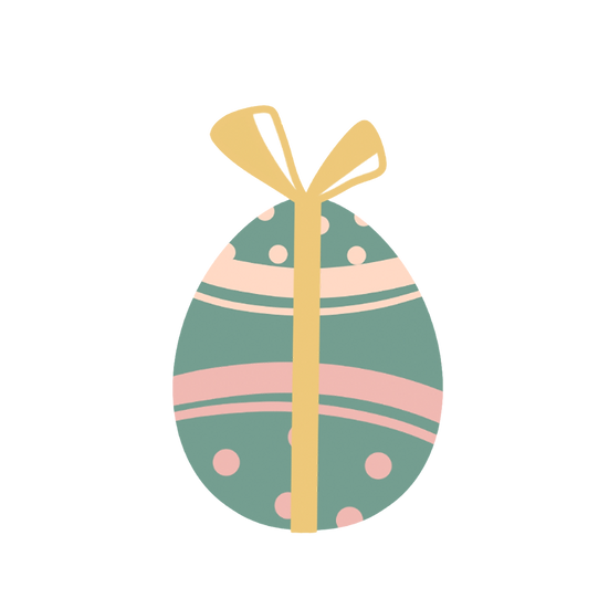 Easter Egg with Bow Clipart - PNG Transparent Image - Instant Download