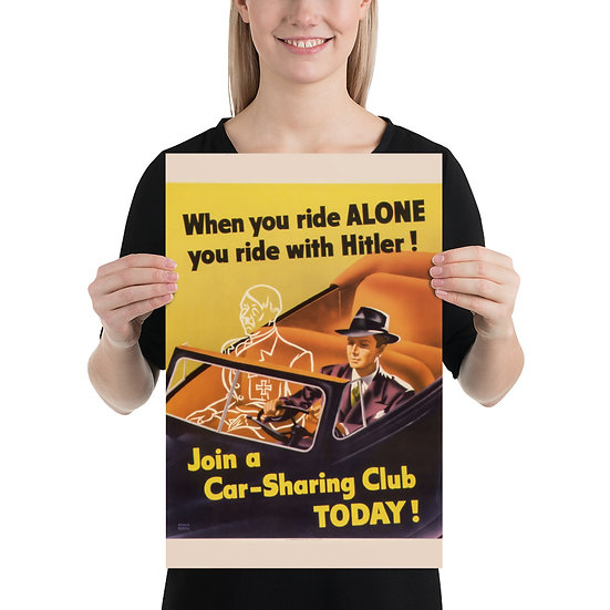 """WW2 American Antifa Poster """"When You Ride ALONE You Ride With Hitler"""""""