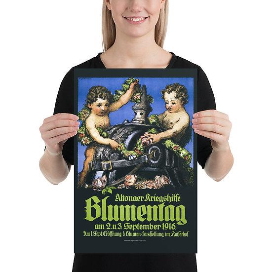 "WW1 German Pickelhaube Propaganda Poster ""Altonaer Kriegshilfe Blumentag"""