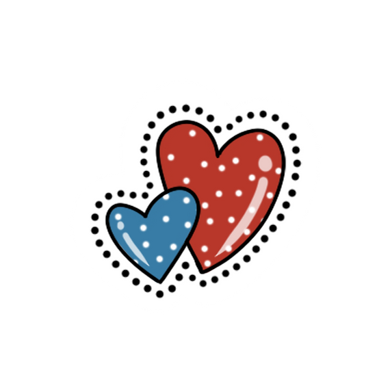Couple of Hearts Clipart - Valentine's Day Transparent Image - Instant Download
