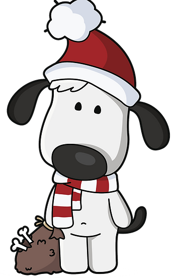 Christmas Dog with Bones Free PNG Images - Free Digital Image Download