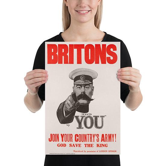 "WW1 British Propaganda Poster Lord Kitchener Recruitment Poster ""Wants You"""