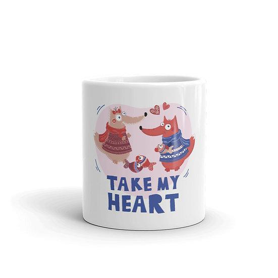 Take my Heart in Winter Mug for Coffee / Tea, White Ceramic