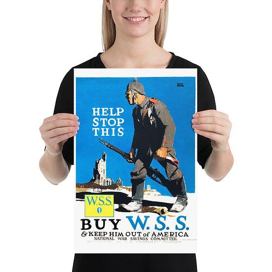 "WW1 US Propaganda Poster ""Help Stop This"". WWI American Anti German Prints"