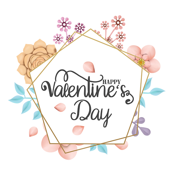 Happy Valentine's Day Charming Greeting Card - PNG Image - Instant Download