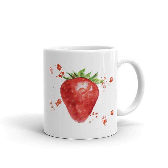 Watercolor Strawberry Coffee Cup Mug for Coffee / Tea White Ceramic Mugs1