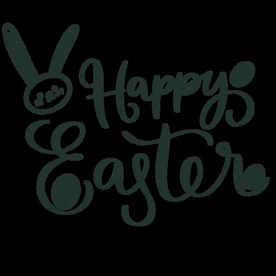 Happy Easter Black Inscription - PNG Transparent Image - Instant Download