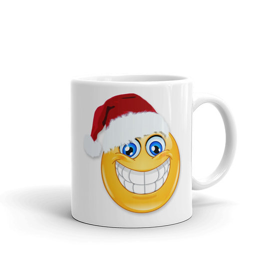 Christmas Smiley Mug for Coffee / Tea, White Ceramic