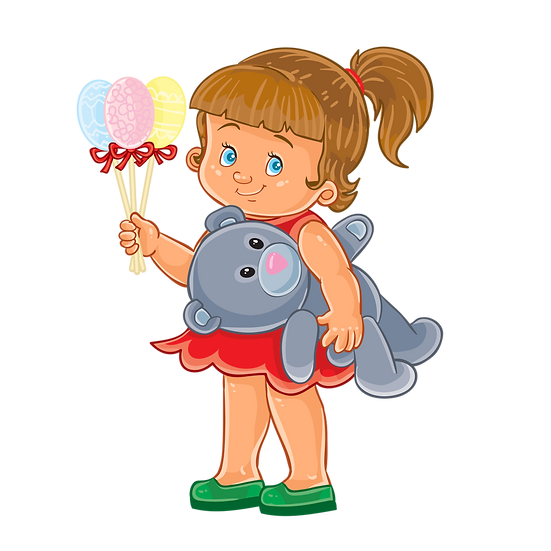 Little Girl with Easter Eggs on a Stick - Transparent Image - Instant Download
