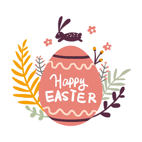 Happy Easter Charming Clipart - PNG Transparent Image - Instant Download