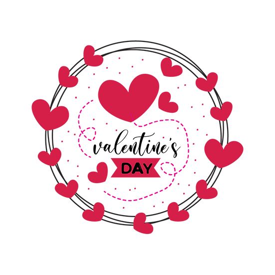 Valentine's Day Circle Greeting Card - PNG Transparent Image - Instant Download