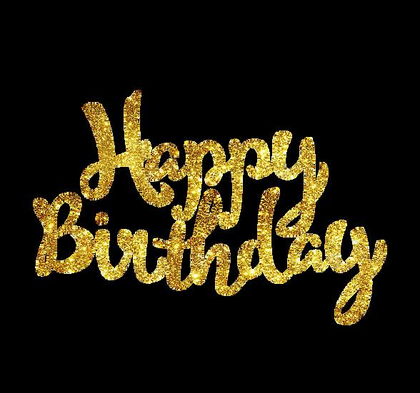 Happy Birthday Glitter PNG Transparent Image - Digital Download Instant Download