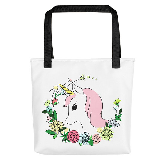 Pink Unicorn with Flowers Tote bag